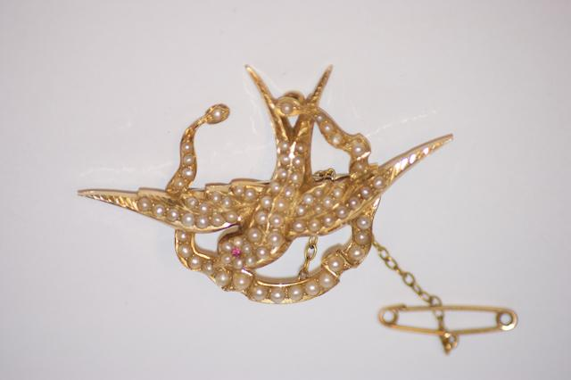 An Australian seed pearl blue bird brooch, by Duggin, Shappere & Co, Melbourne, circa 1900