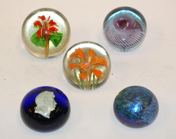 A 19th century sulphide paperweight depicting a Roman emperor, two modern floral weights, and two modern Australian weights