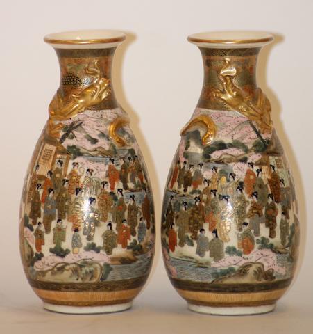 A pair of Japanese Satsuma vases, Meiji period, by Gyokusen Satsuma sei, Shimazan mon