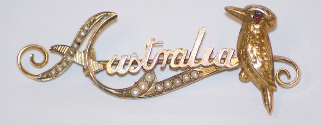 An Australian Kookaburra seed pearl brooch