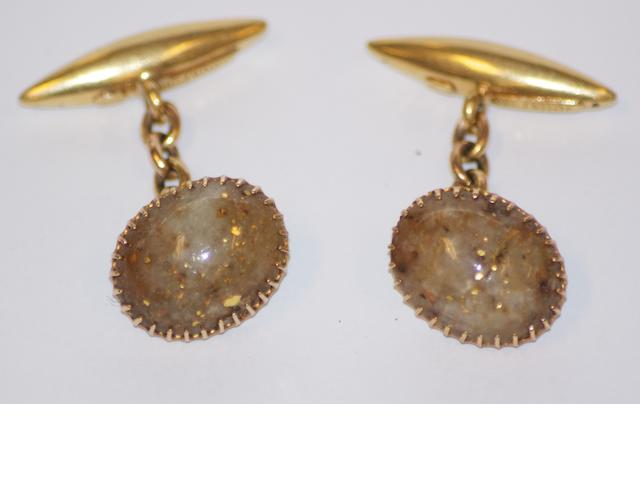A pair of Australian gold bearing quartz cufflinks, by George R. Addis, Hannan Street Kalgoorlie, circa 1895