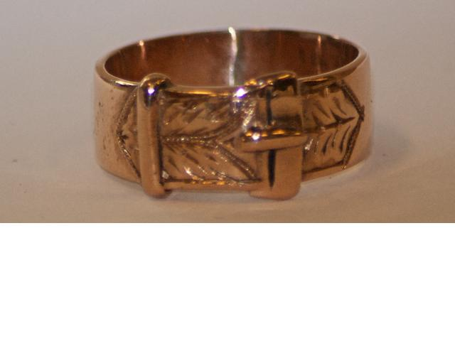 An Australian engraved belt and buckle ring by Henry Steiner, Rundle Street, Adelaide, circa 1880