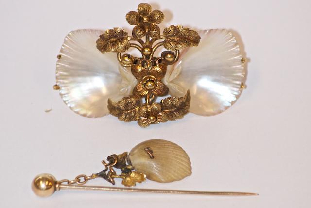 An Australian Shell brooch and stick pin, marked 'F. B & R', possibly for Flavelle Brothers & Roberts, Queen Street, Brisbane