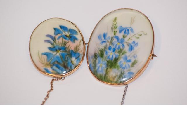 Two Australian painted porcelain brooches, circa 1900