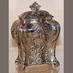 An Edward VII silver bombe tea caddy by Thomas Bradbury & Co, London 1911