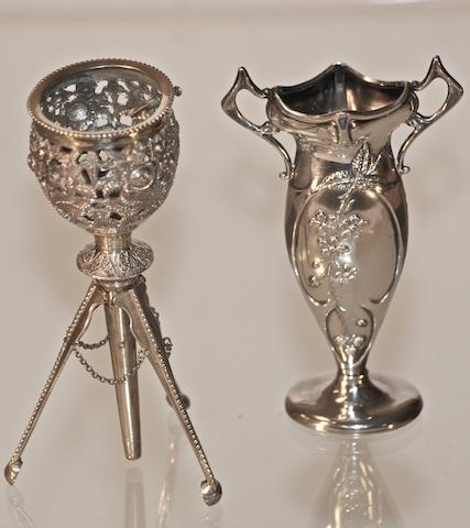 A Victorian silver and gilt posy holder, by William Neal, London 1867