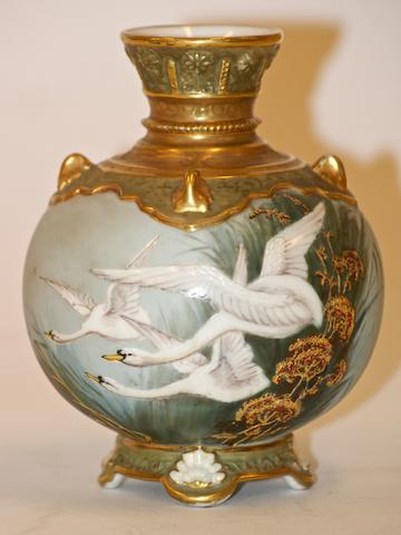 A Royal Worcester ovoid vase painted by George Johnson, 1900