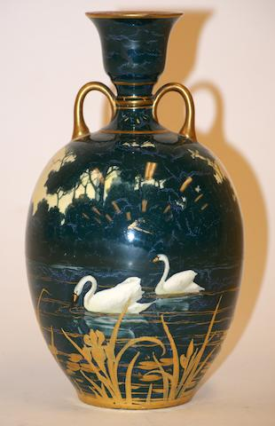 A Doulton Burslem two handled vase painted and gilt by William G. Hodkinson circa 1900