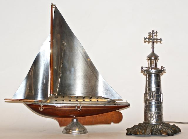 A Nickel 'Lighthouse' table lamp,