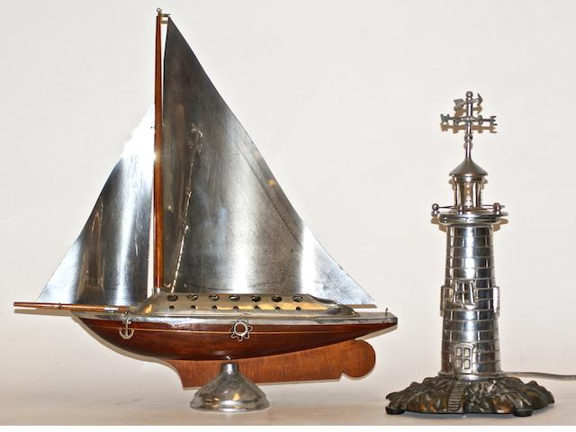 A Nickle 'Lighthouse' table lamp,