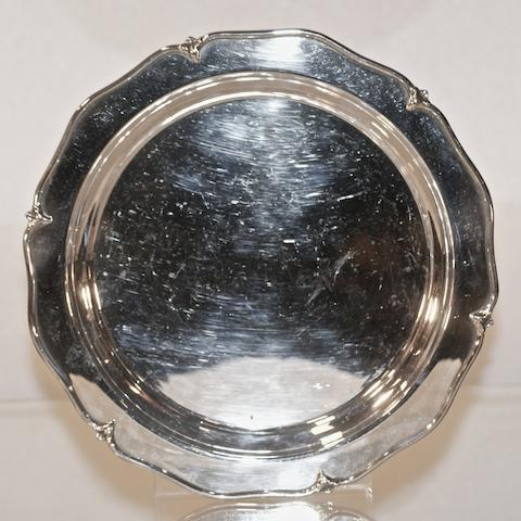 An Australian silver shaped circular tray by Hardy Brothers, 20th century