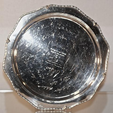 An Australian silver shaped circular tray by Fairfax & Roberts Sydney, 20th century