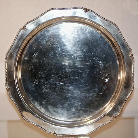 An Australian silver shaped circular tray by William J Sanders, Sydney, 20th century