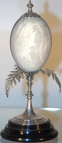 An Australian silver plate mounted titled 'cameo' emu egg, by Ingram Brothers, Melbourne, circa 1900