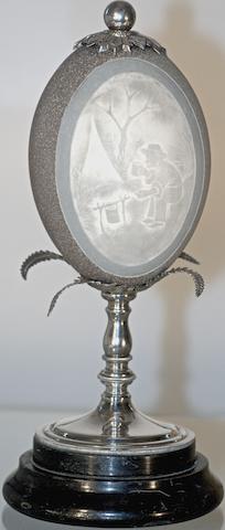 An Australian silver plate mounted 'cameo' emu egg, circa 1900
