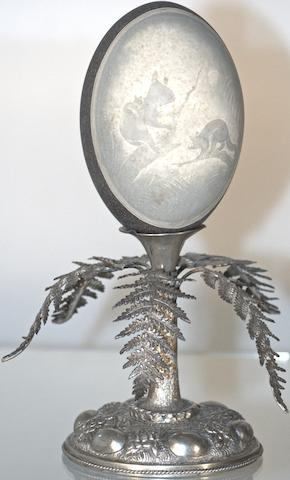 An Australian silver mounted 'cameo' emu egg, late 19th century