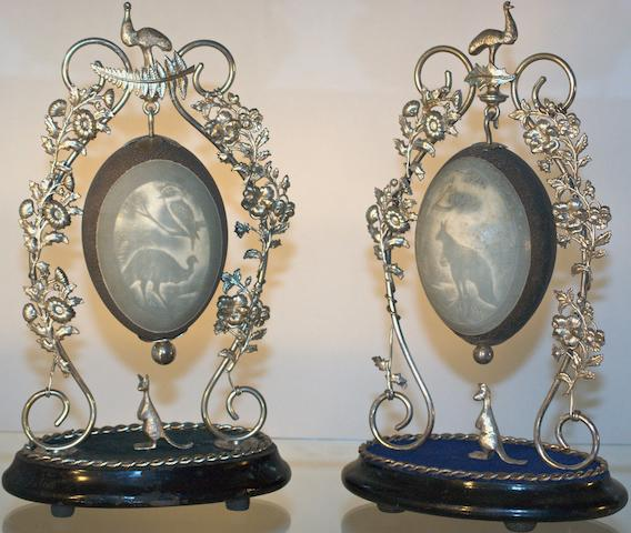 Two Australian silver plate 'cameo' emu egg centrepieces, late 19th century