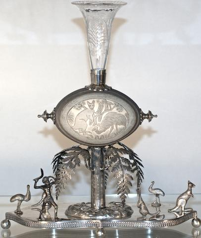 An Australian silver plate 'cameo' emu egg centre piece, late 19th century