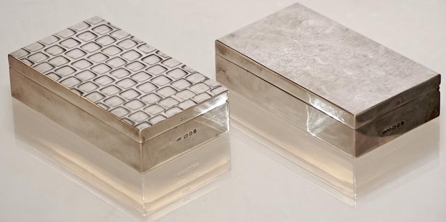 Two silver rectangular cigarette cases by Gerald Benney, London 1964