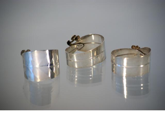 Three Australian silver napkin rings, possibly from the workshop of Rhoda Wagen