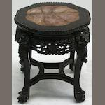An early 20th century Chinese rosewood and marble topped  occasional table