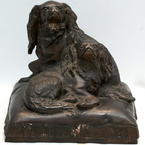 A large bronze group of two King Charles Spanielsafter a model by Charles Valton (1851-1918)
