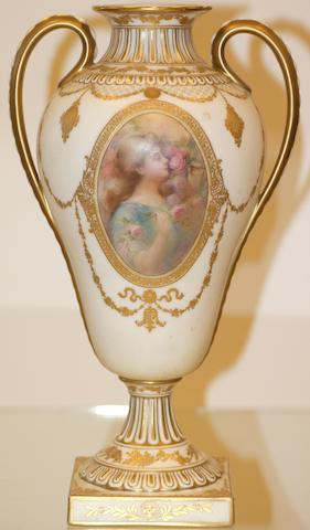 A Doulton Burslem two handle vase, painted by George White, circa 1900