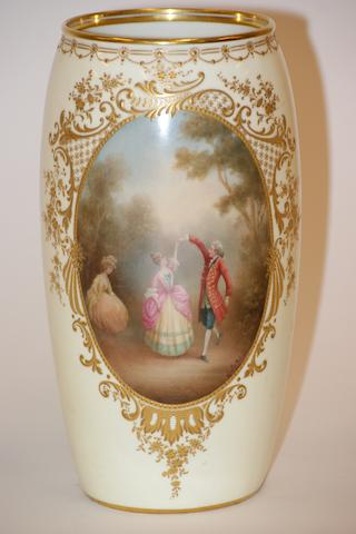A Royal Doulton yellow ground vase painted by Leslie Johnston, circa 1910