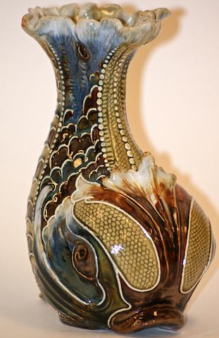 A Doulton Lamberth glazed stoneware fish vase by Mark V Marshall