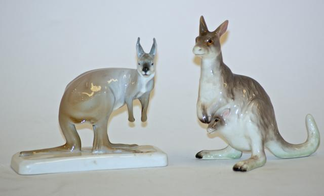 A Meissen pattern model of a kangaroo, circa 1900