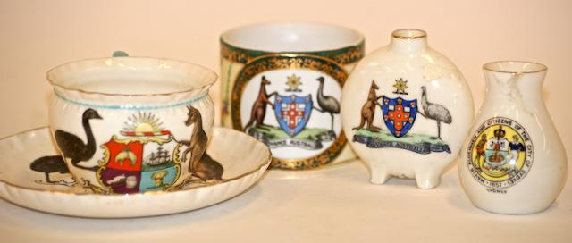 A collection of Australian heraldic porcelain