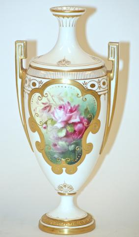 A Royal Worcester two handled vase, painted by Frank Roberts, 1905,