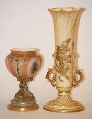 A Hadley's Worcester vase, circa 1900,