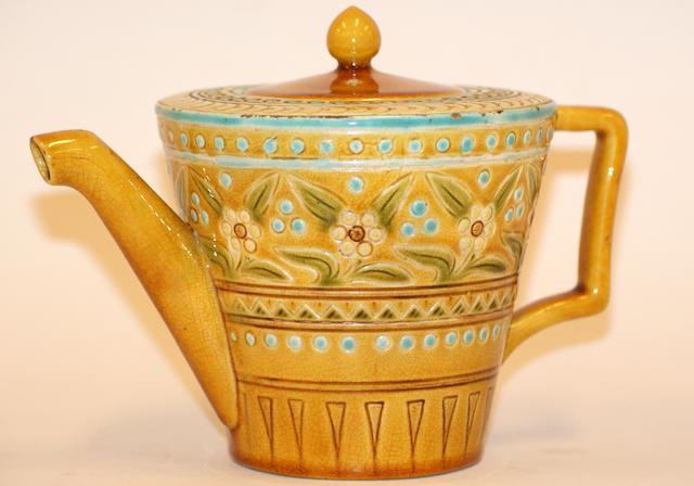 A Linthorpe pottery yellow glazed teapot
