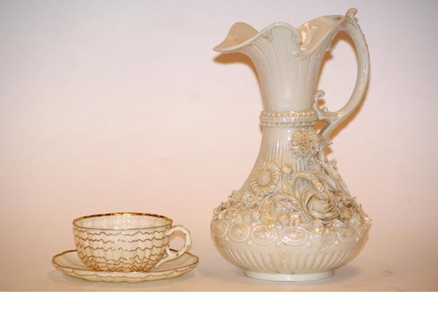 A Belleek lustre glaze jug, early 20th century