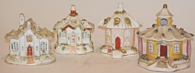 A 19th century Rockingham porcelain cottage pastille burner,