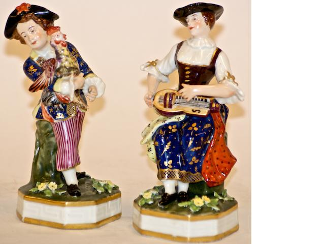 A pair of Derby figures of a gallant and his champion, circa 1825