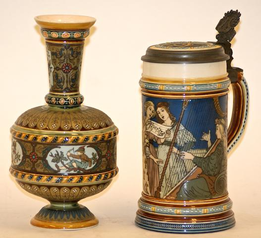 A German Mettlach pottery vase and a beer stein