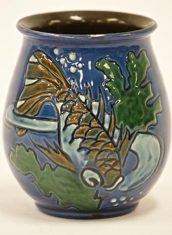 A C.H Brannam pottery sgraffito vase