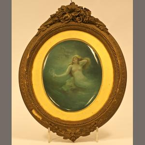 An oval porcelain plaque by Leslie Johnson