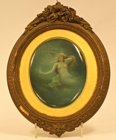 An oval porcelain plaque by Leslie Johnson