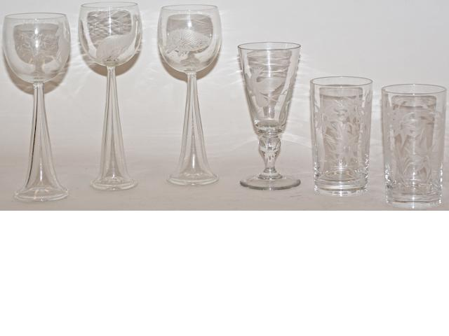 Three etched glasses by Anne Dybka, decorated with an emu, a kangaroo and an echidna