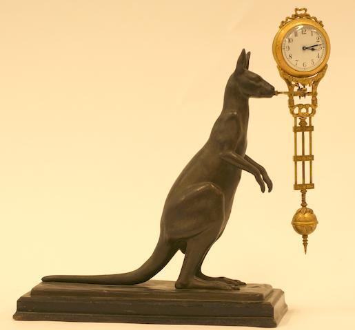 A Cast Metal Kangaroo Mystery Clock