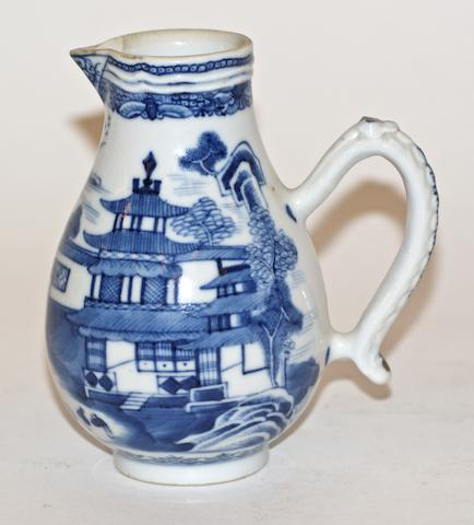 A Chinese export blue and white porcelain sparrow beak jug, late 18th century