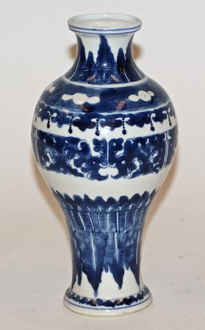A Chinese blue and white porcelain baluster vase, 19th century
