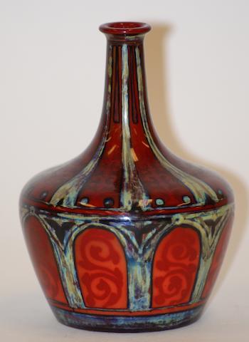 A Bernard Moore flambe bottle vase, circa 1910