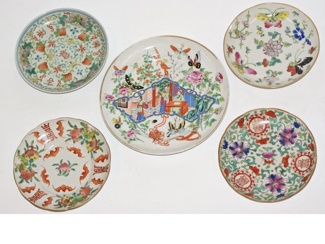 Four Chinese saucer dishes and a plate, 19th century