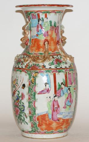 A Chinese Canton famille rose baluster vase, late 19th century