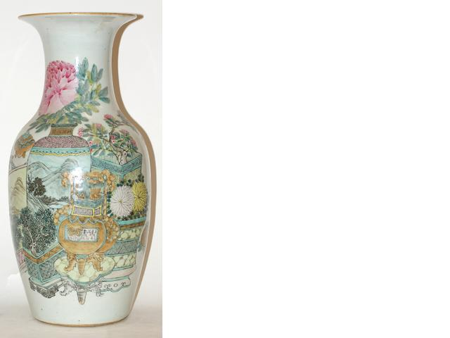 A Chinese famille rose baluster vase, Qianlong mark but late 19th century