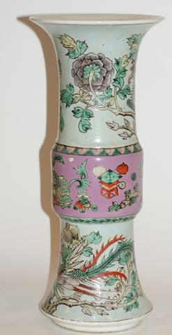 A Chinese famille rose 'gu' vase